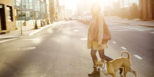 Woman Crossing the Street With Her Dog