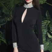 Long-Sleeves-Black-Crystals-Short-Silk-Dresses-3477